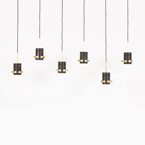 Black Metal and Brass Pendant Lights, 1950s, Set of 6