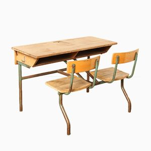 Double Seat School Bench, 1950s