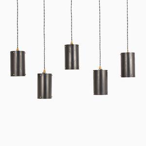 Black Metal Pendant Lights, 1950s, Set of 5