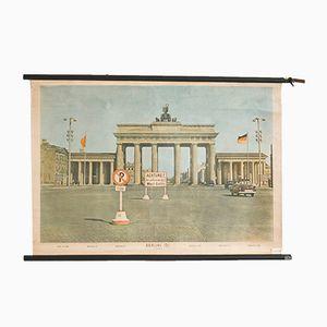 Vintage Berlin Schulwandkarte von Hagemann, 1960er