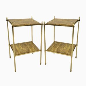 Vintage French Brass and Stone Side Tables, Set of 2