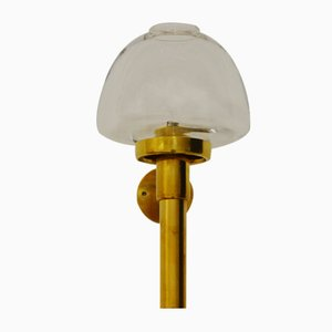 Vintage Wall Mounted Brass and Glass Candle Holder by Hans-Agne Jakobsson