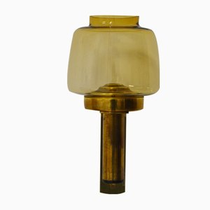 Vintage Wall-Mounted Brass & Glass Candle Holder by Hans-Agne Jakobsson