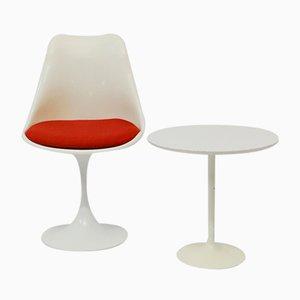 Stuhl mit Tulpenfuß und Tisch, 1960er, 2er Set