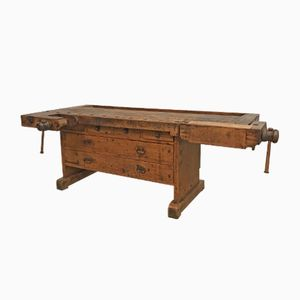 Antike Werkbank mit Schubladen