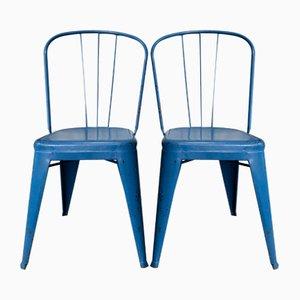 Blaue Vintage Stühle von Jean Pauchard für Tolix, 2er Set