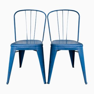 Vintage Blue Chairs by Jean Pauchard for Tolix, Set of 2