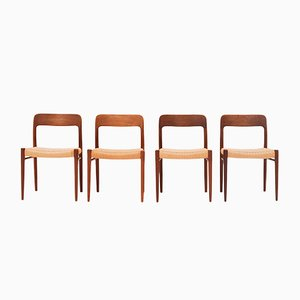 Model 75 Dining Chairs by Niels Otto Moller for J.L. Mollers, 1950s, Set of 4