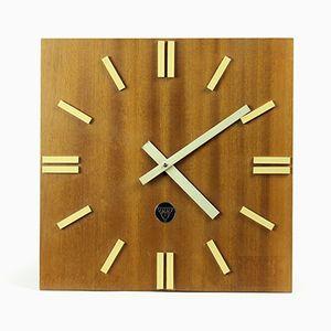 Orologio PPH 410 in legno di Pragotron, anni '70