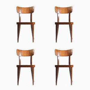 Mid-Century Wooden Chairs from Tatra, 1950s, Set of 4