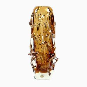 Mid-Century Amber Glass Vase by Jan Beranek for Glass Factory Škrdlovice, 1959