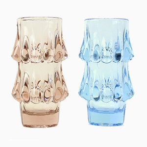 Vintage Pink & Blue Glass Vases by Jiri Brabec for Sklo Union Rosice, 1978, Set of 2