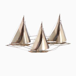 Large Sailboat Wall Sculpture by Curtis Jeré, 1977