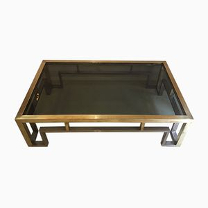 Vintage Low Table in Chrome & Brass