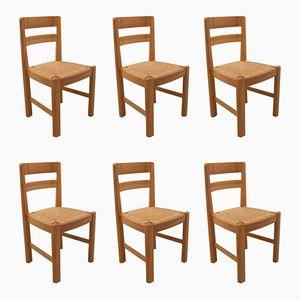 Französische Stühle aus Massiver Ulme, 1970er, 6er Set