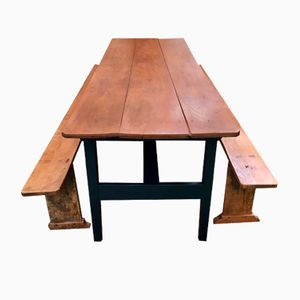 Late 19. Century Elm Farm Table & 2 Benches