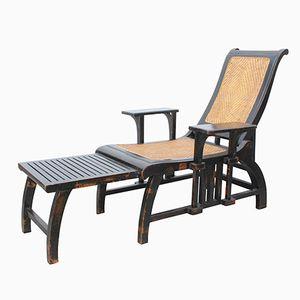 Vintage Liegestuhl mit Geflochtenem Sitz