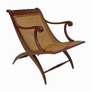 Antiker Französischer Geflochtener Armlehnstuhl