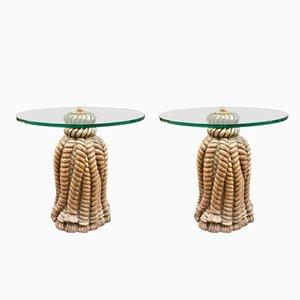 Vintage Couchtische mit Quasten- Gestellen, 2er Set