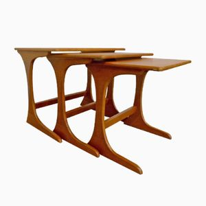British Solid Teak Nesting Tables, 1960s