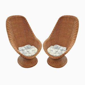High-Back Wicker Chairs, 1960s, Set of 2