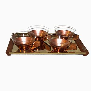 Mid-Century Teak and Copper Tea Set from Hainholz, 1960s
