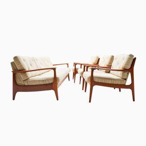 Vintage Scandinavian Teak Sofa with 3 Armchairs