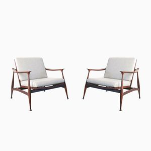 Vintage Lord Lounge Chairs by Ico Parisi for Fratelli Reguitti, Set of 2