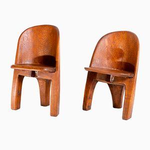 Vintage Brutalist Solid Oak Chairs, Set of 2