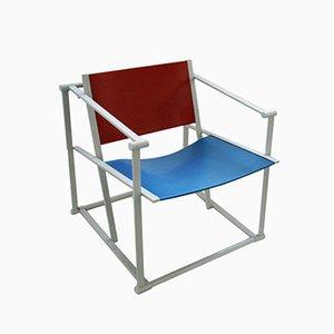 FM60 Easy Chair in Red & Blue by Radboud van Beekum for Pastoe, 1980s