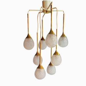 Vintage Pendant Lamp with 8 Textured Glass Diffusers