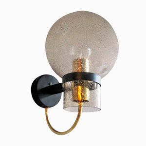 Vintage Smoked Bubble Glass & Brass Wall Lamp from Limburg
