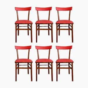 Chaises de Bistrot Vintage, France, Set de 6