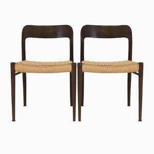 Modell 75 Wenge Stühle von Niels O. Møller für J. L. Møller, 1960er, 4er Set