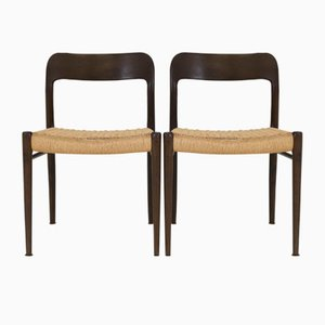 Wenge Model 75 Chairs by Niels O. Møller for J. L. Møller, 1960s, Set of 4