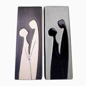 Danish Modern Relief Vases by Svend Aage Holm Sorensen for Soholm, 1958, Set of 2
