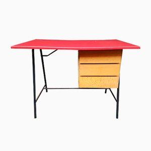 Französischer Schreibtisch mit Roter Vinyl Tischplatte, 1960er