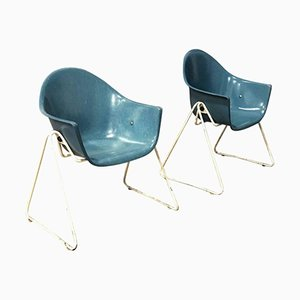 Fiberglass Children Chairs with Metal Bases, 1960s, Set of 2
