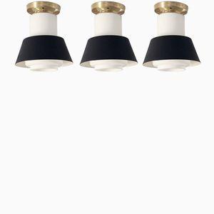 Deckenlampen von Jonas Hidle für Høvik Verk, 1950er, 3er Set