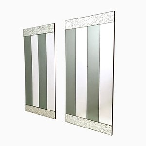 Striped Rectangular Wall Mirrors, 1970s, Set of 2