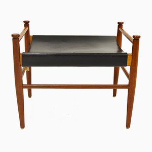 Teak & Leather Footstool, 1960s