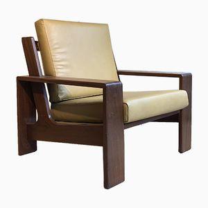 Teak & Leather Armchair, 1970s