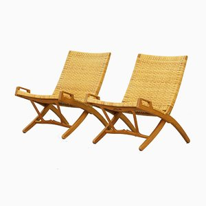 Mid-Century Folding Lounge Chairs by Hans J. Wegner for Johannes Hansen, Set of 2