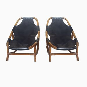 Bamboo and Leather Armchairs, 1960s, Set of 2