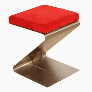 Vintage Z-Shaped Stool in Stainless Steel