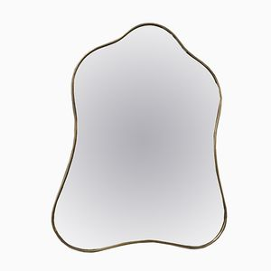 Mid-Century Italian Mirror with a Brass Frame, 1950s