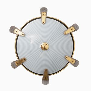 Frosted Glass & Brass Wall Lamp, 1950s