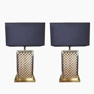 Banana Wood & Brass Table Lamps, 1950s, Set of 2