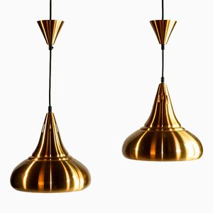 Mid-Century Copper Drop Shaped Pendants, Set of 2