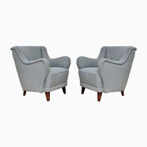 Grey Armchairs, 1950s, Set of 2